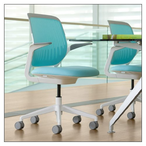 Steelcase Cobi(tm) Collaborative Chair - White Frame by Steelcase, color = Maya Blue