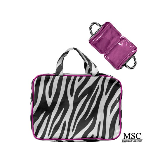Mainstreet Zebra Hot Pink Large Make-Up Toiletries Cosmetic Travel Bag Case