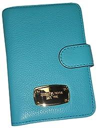 Michael Kors Jet Set Passport Case Holder Aquamarine Leather