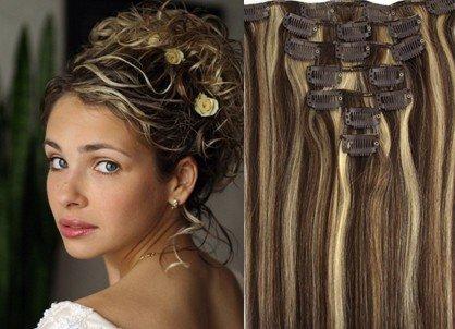 """20"""" Clips In Remy Human Hair Extension Attach Straight 4/613 Dark Chestnut Brown& Blond Mix"""