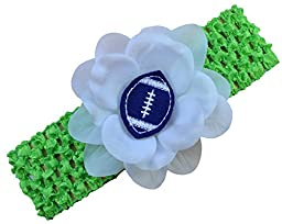 Baby Embroidered Felt Football Flower Headband (Lime Band / Blue Ball)