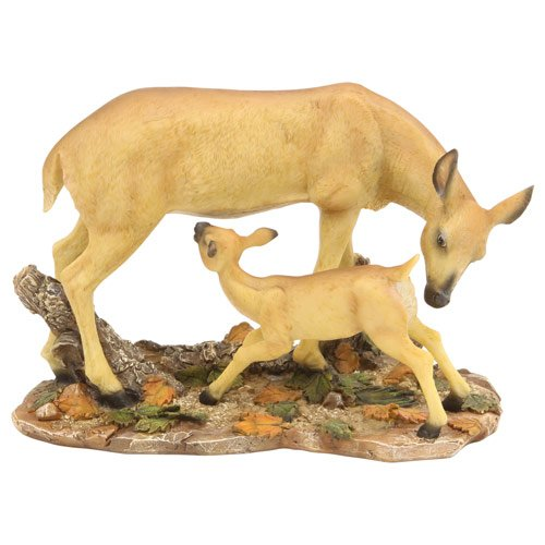 Mother Fawn Deer Family Statue Figure, 9-inch, Free Standing Tabletop Decor