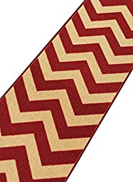 Custom Size Red Chevron Zig Zag Rubber Backed Non-Slip Hallway Stair Runner Rug Carpet 22 inch Wide Choose Your Length 22in X 8ft