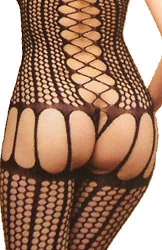 Sexy Ladies All In One Schwarz Netz-Catsuit mit geöffneter Leistengegend