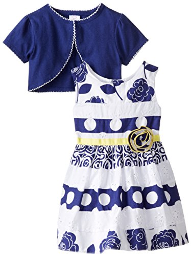 Youngland Baby Girls' 2 Piece Mixed Print Dress and Knit Cardigan, White/Navy, 6-9 Months