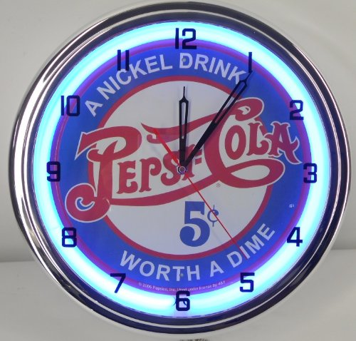 "PEPSI COLA - 5 CENTS WORTH A DIME 15"" NEON LIGHTED WALL CLOCK POP SHOP BAR VINTAGE STYLE GARAGE SIGN BLUE 1"