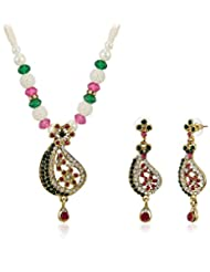 Sia Art Jewellery Pearl Jewellery Set For Women (Golden) (AZ2043)