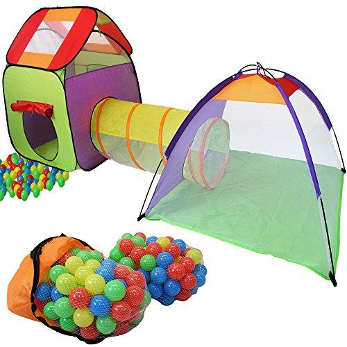 KIDUKU® Tenda Igloo per bambini con tunnel + 200 palline + borsa per interni ed esterni - Tenda da gioco con palline per bambino