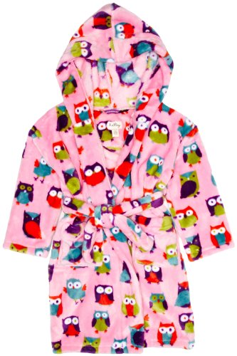 Hatley Little Girls' Cozy Bathrobe-Party Owls, Pink, Large front-985820