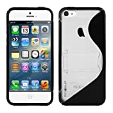 MiniSuit Case + Kickstand for Apple iPhone 5 - TPU Silicone Skin Cover (Frost Black)