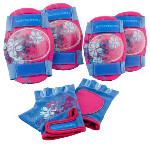 Schwinn Girl's Pad Set with Knee Elbow and Gloves