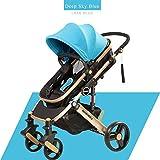 Infantil de lujo Cochecito plegable antichoque de color de alta Vista del carro del cochecito de bebé recién nacido Cochecito azul