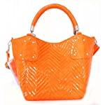 Big Buddha Orange Leather Handbag Ziggy Quilted Patent