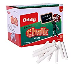 Oddy White Chalk Dust Less 100 PCs. Pack (Set of 10 Boxes)