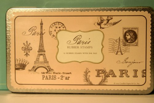 Paris Rubber Stamp Set in a Tin By Cavallini & Co.
