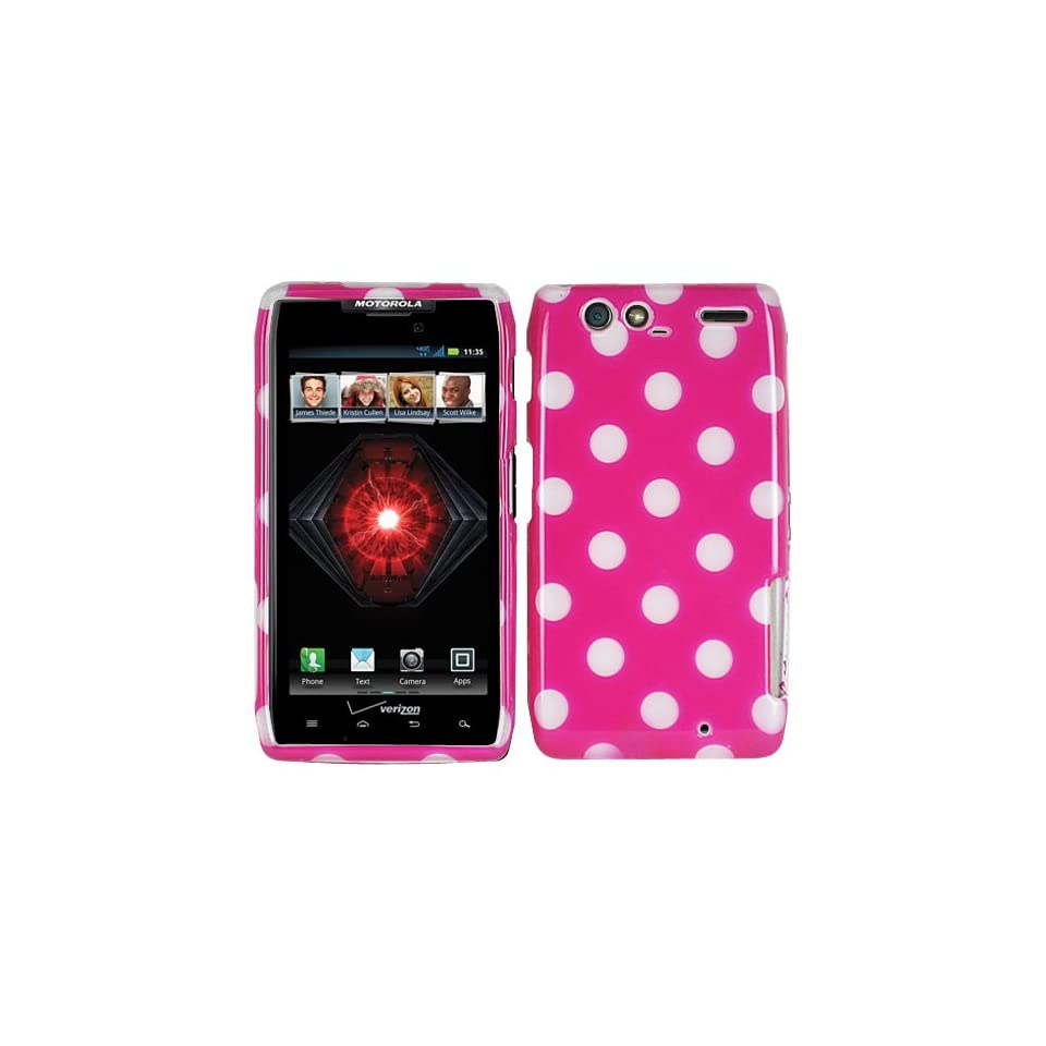 Hot Pink White Polka Dots Hard Case Cover For Motorola Droid Razr Maxx 912M 913 916 Razor Max with Free Pouch