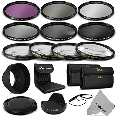 67Mm Complete Lens Filter Accessory Kit For Canon Eos Rebel T5I T4I T3I T3 T2I T1I Dslr Camera With A 18-135Mm Zoom Lens - Includes: Vivitar Filter Kit (Uv, Cpl, Fld) + Vivitar Macro Close Up Set (+1, +2, +4, +10) + Altura Photo Nd Neutral Density Filter