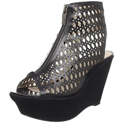House of Harlow 1960 Women's Fionna Open-Toe Bootie, Black, 8.5 M US