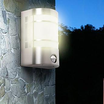 Wandleuchte Alu inkl heller 12W LED Anthrazit Bewegungsmelder Wandlampe außen