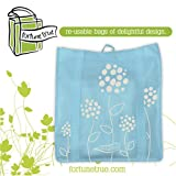 Stylish Re-usable Bag Pack of 5 (Blue Floral)