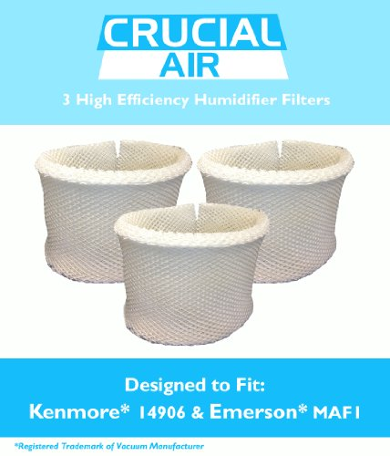 3 Kenmore & Emerson Humidifier Wick Filters, Fits Kenmore EF1 14906 & Emerson MAF1, Compare to Kenmore Part # 42-14906, 14906, EF1, MAF1, Designed & Engineered by Crucial Air - 1