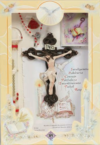 Confirmation Gift Set - CNB Candle, Crucifix, Certificate, Rosary, Pin, Missal - SPANISH