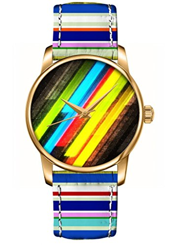 Ouo Special Unique Watch Gift With Design Of Rainbow Color Sparkle Cross Stripes Analog Quatz Gold Round Face Unisex Watches Fashion