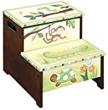 Kid's Step Stool Storage - Papagayo Animals Green & Brown Finish