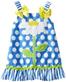 Youngland Baby-girls Infant Daisy A-Line Dress, Blue/White, 18 Months
