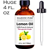 Lemon Essential Oil - Premium Quality 4 Oz - 100% Natural and Pure Lemon Oil - Cold-Pressed from Rinds of Real Lemons - Aromatherapy, Health & Many Household Uses and Benefits - Powerful Disinfectant and Antiseptic Cleanser with Refreshing and Cooling Properties - Great Fragrance, Energizing, Refreshing and Uplifting - Buy with Complete Confidence Now!