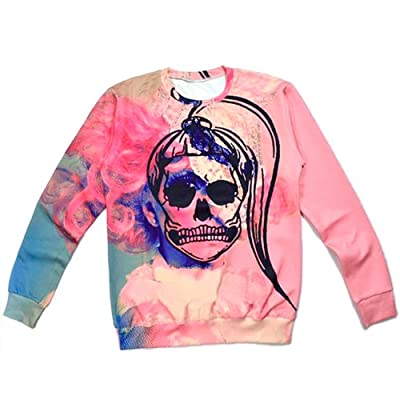 Unisex Sweater Pink Skull Lady Gaga Sweatshirt Hoodies 3D T Shirts (L)