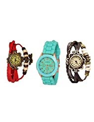 Addic Brown Red Bracelet Watch Green Sports Watch Combo