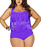 Pandolah Plus Size High Waist Padded Two-Piece Tassel Swimsuits for Women