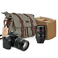 Kattee Canvas Cow Leather DSLR SLR Vi…