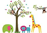 E-Love Lovely Pictures Tree Animals Giraffe Elephant Monkey Removable Mural Wall Stickers Wall Decal Art for Children Nursery Room Home Decor