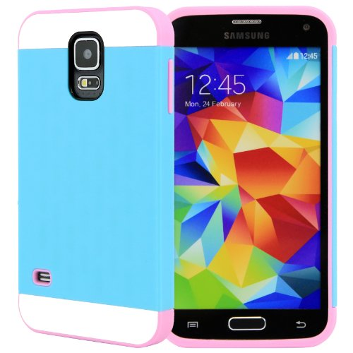 Celljoy [Vivid Hybrid] Tpu 2Pc Layered Hard Case Rubber Bumper For Samsung Galaxy S5 Sv (At&T / Verizon / Us Cellular / Sprint / T-Mobile / Unlocked) [Celljoy Retail Packaging] (Teal / Pink)