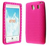 FOR SAMSUNG OMNIA 7 i8700 STYLISH DIAMOND ON PINK RUBBER SILICONE CASE COVER