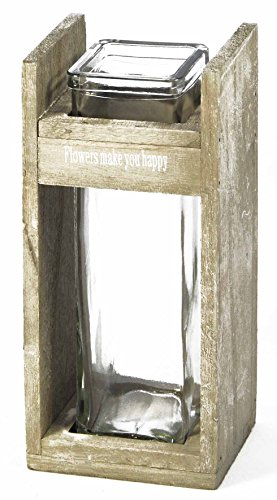 Vase Holzgestell Grauton mit quadratischem Glaseinsatz