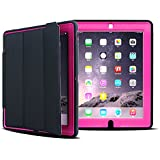 iPad Case, HAOCOO Extreme Heavy Duty Full Body Rugged Hybrid Protective PU Leather Smart Case Magnetic Cover with Sleep / Wake feature for Apple iPad 2/iPad 3/iPad 4 (Pink with Black)