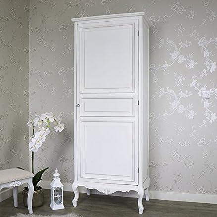 Bianco ornato francese singolo armadio–Elise bianco Range