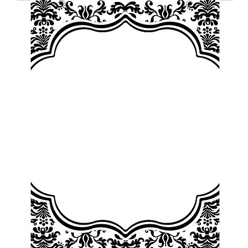 Bella Cupcake Couture 10-Pack Lu Lu Invitations, 5 By 7-Inch, Damask Black And White front-947877