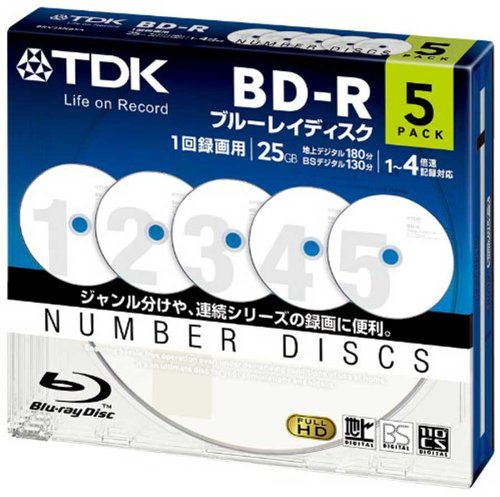 TDK Bluray Disc 25 gb BD-R 4x Numbered Discs Series HD Discs 5 Pack in Jewel Cases (Numbered Disks compare prices)