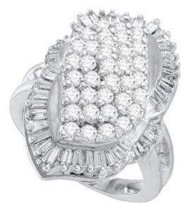 Pricegems 10K White Gold Ladies Round Brilliant Diamond Cluster Set Ring (1.8 cttw, H-I Color, I1/I2 Clarity, Ring Size: 8.25)