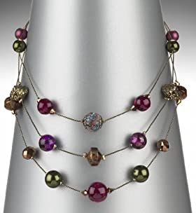 Assorted Bead 3 Row Necklace