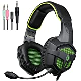 SADES 807 Wired Stereo Gaming Headset Over the ear Headband Headphone For New Xbox one PS4 PC Laptop Mac iPad iPod Black&Green