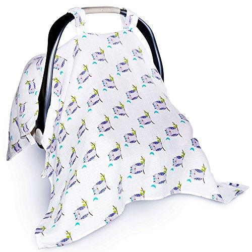 Soft & Breathable Baby Car Seat Covers For Sound Sleep. Muslin Canopy XL For Nursing,. (Quilt For Stroller compare prices)