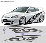 Universal Car Flames Pinstripe Racing Side Graphics Decals 68