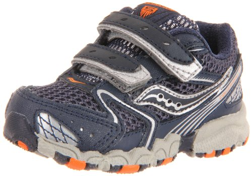 Saucony Cohesion 5 H&L Running Shoe (Little Kid/Big Kid),Navy/Silver/Orange,5.5 W Us Toddler