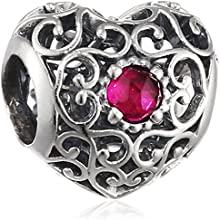 Pandora 791784sru July Signature Heart Synthetic Ruby Charm