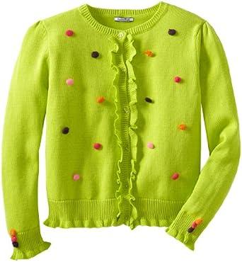 Hartstrings Big Girls' Big Sweater Cardigan with Pom Poms, Fresh Lime, 10/12